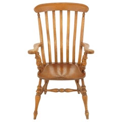 Antique Victorian Windsor Armchair, Ash, Country Kitchen, Scotland 1880, B2367