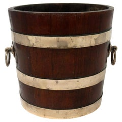 Antique Victorian Wooden Coopered Jardinière Wine or Champagne Bucket