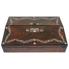 Antique Victorian Writing Slope Rosewood and Mother of Pearl Scotland 1870 B2350