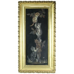Antique Victorian Yard Long Oil Painting of Kittens on Wood Panel, Circa 1890