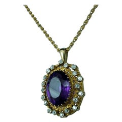 Antique Victorian Yellow Gold and 4.00 Carat Diamonds Amethyst Pendant Necklace
