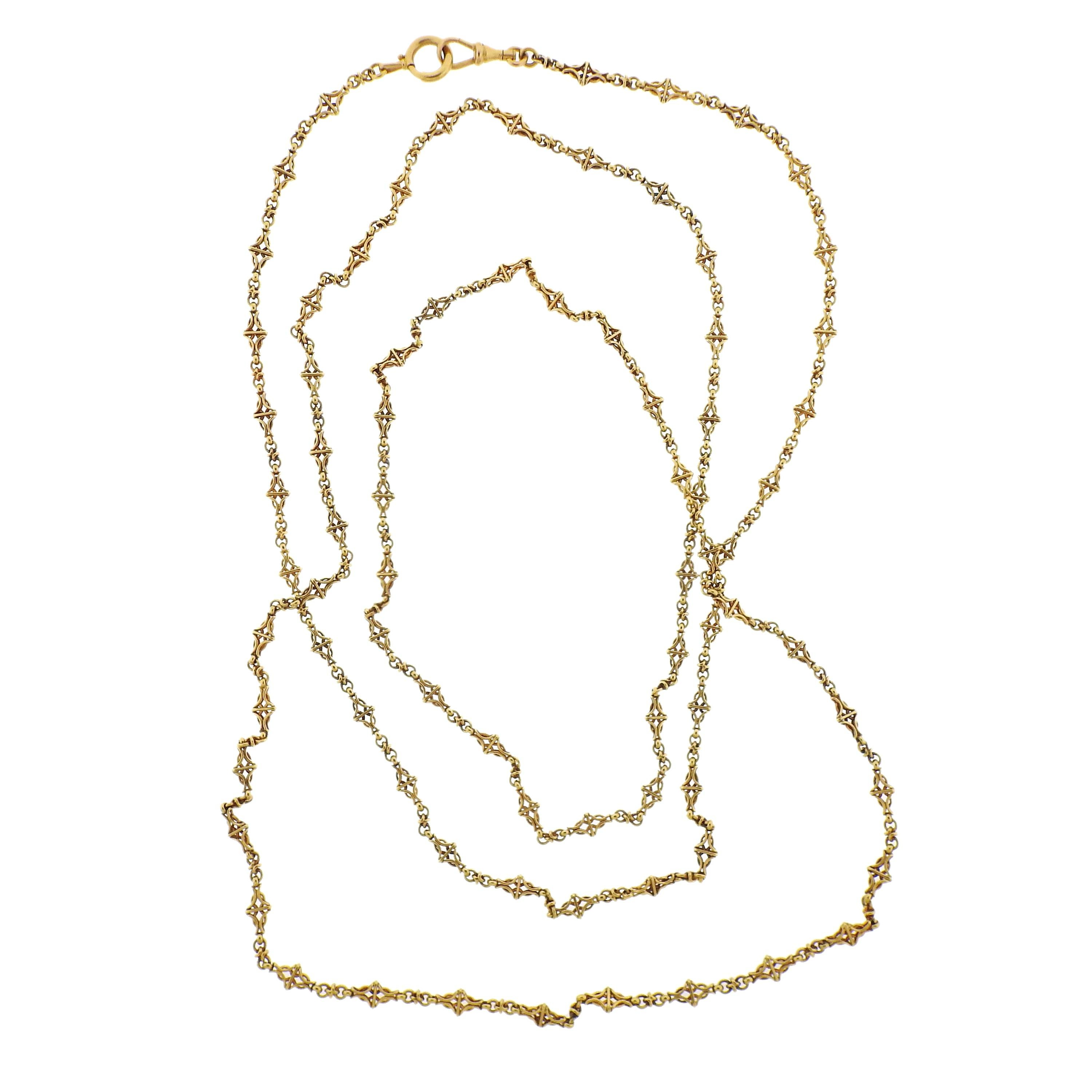 Antique Victorian Yellow Gold Long Fob Chain Necklace