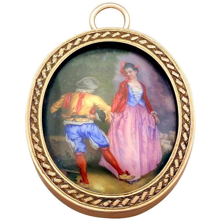 Antique Victorian Yellow Gold Miniature Portrait Pendant For Sale
