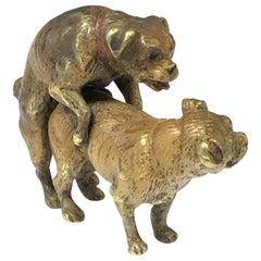 Antique Vienna Bronze Cold Painted Enamel Pug Dog Figure