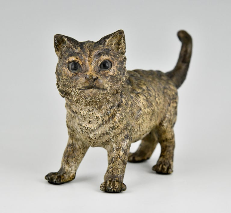 French Antique Vienna Bronze Sculpture of a Cat by Bergman, Austria, ca. 1900 For Sale