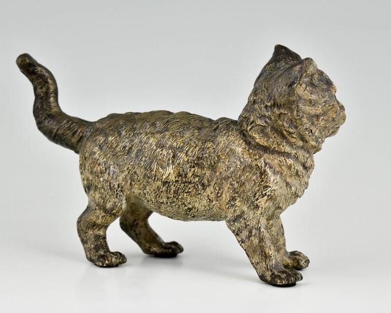 Antique Vienna Bronze Sculpture of a Cat by Bergman, Austria, ca. 1900 In Good Condition For Sale In Antwerp, BE