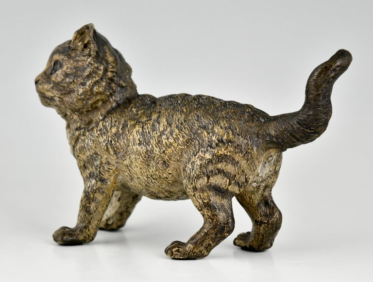 Antique Vienna Bronze Sculpture of a Cat by Bergman, Austria, ca. 1900 For Sale 2