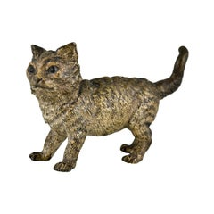 Antique Vienna Bronze Sculpture of a Cat by Bergman, Austria, ca. 1900