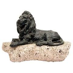Antique Vienna Bronze Sculpture of Lion Marked Geschützt