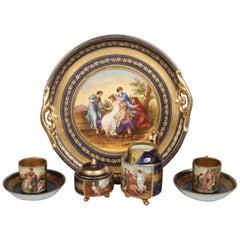 """Antique Vienna """"Cobalt Blue"""" Cabaret Tray Breakfast Set 19th Century"""