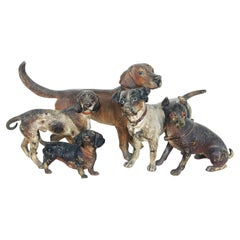 Antique Vienna Cold-Painted Bronze 5-Dog Group, Austria
