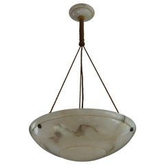 Antique Vienna Secession Alabaster Pendant Light with Original Rope and Canopy