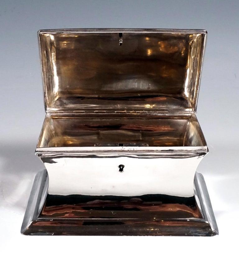 Austrian Antique Vienna Silver Biedermeier Sugar Box Anton Weichesmueller, Made 1844 For Sale