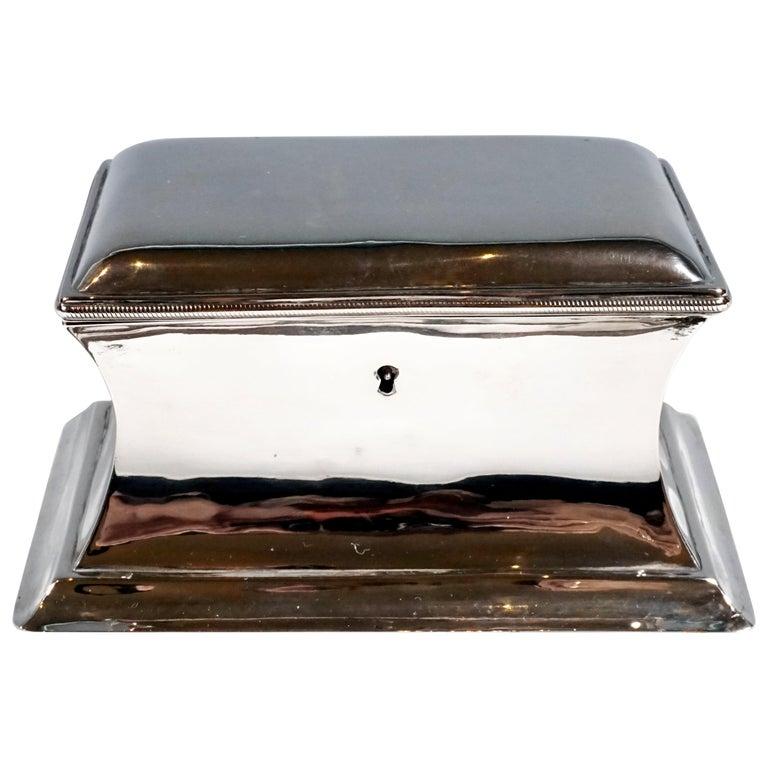 Antique Vienna Silver Biedermeier Sugar Box Anton Weichesmueller, Made 1844 For Sale