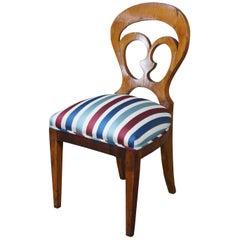 Antique Viennese Biedermeier Walnut Pierced Back Side Desk Chair Striped Seat
