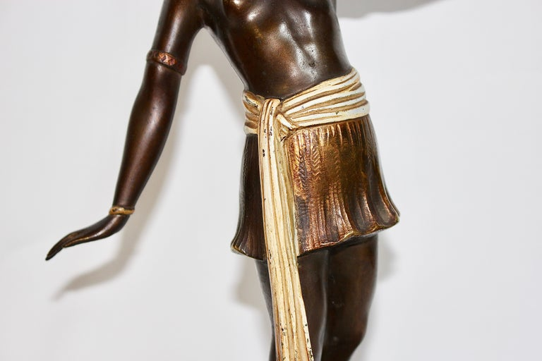 Cold-Painted Antique Viennese Bronze Sculpture, Oriental Nude Dancer, Belly Dance For Sale