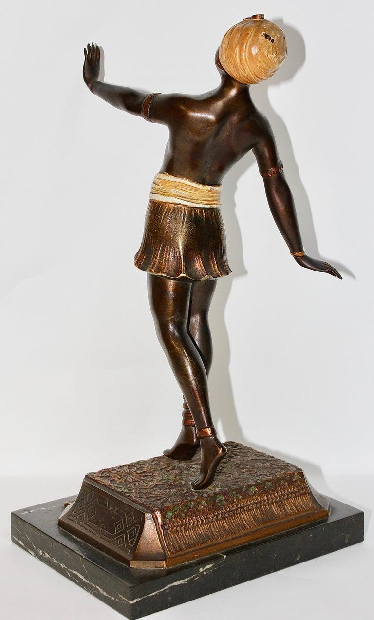 19th Century Antique Viennese Bronze Sculpture, Oriental Nude Dancer, Belly Dance For Sale