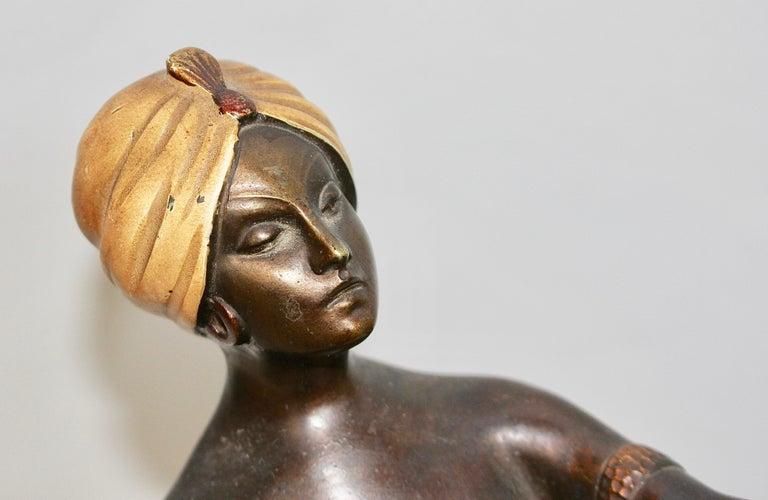 Antique Viennese Bronze Sculpture, Oriental Nude Dancer, Belly Dance For Sale 3