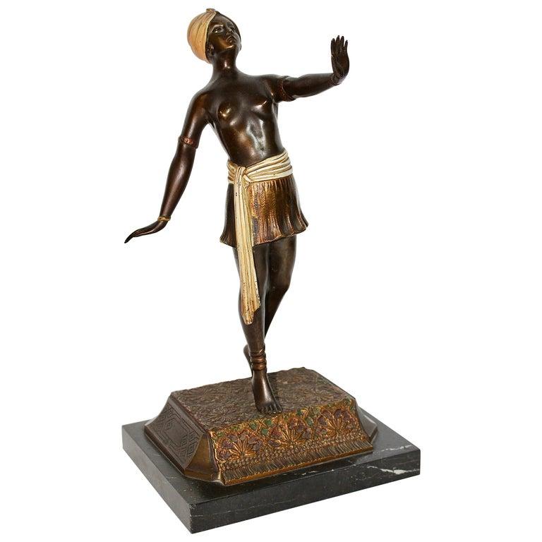 Antique Viennese Bronze Sculpture, Oriental Nude Dancer, Belly Dance For Sale