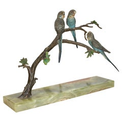 Antique Viennese Bronze Sculpture, Three Birds 'Budgerigars' on Tree Trunk