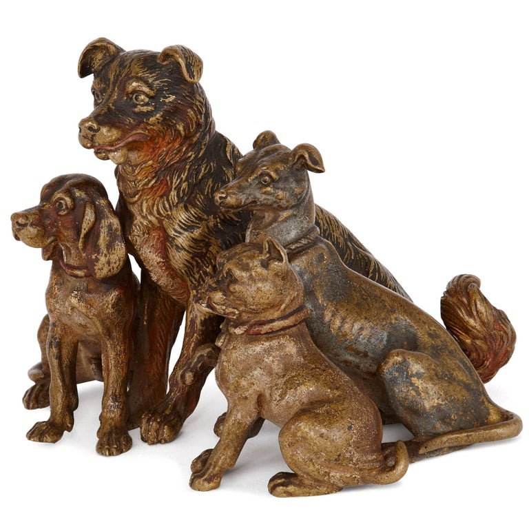 Antique Viennese Cold Painted Bronze Dogs, Attributed to Bergman 2