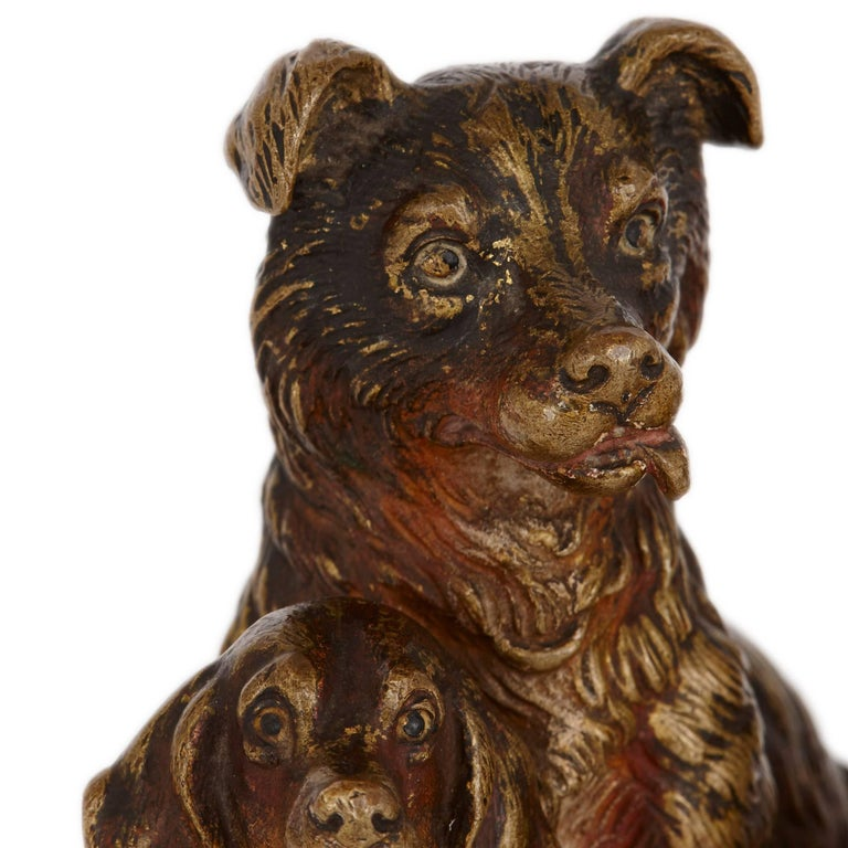 Antique Viennese Cold Painted Bronze Dogs, Attributed to Bergman 4