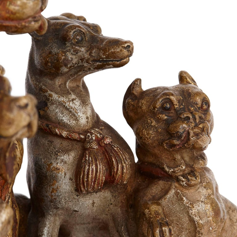 Antique Viennese Cold Painted Bronze Dogs, Attributed to Bergman 6