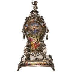 Antique Viennese Enamel and Silver Clock circa 1870 Table Clock, Austrian