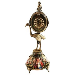 Antique Viennese Enamel and Silver Gilt Clock Austria circa 1870 Bird Ostrich