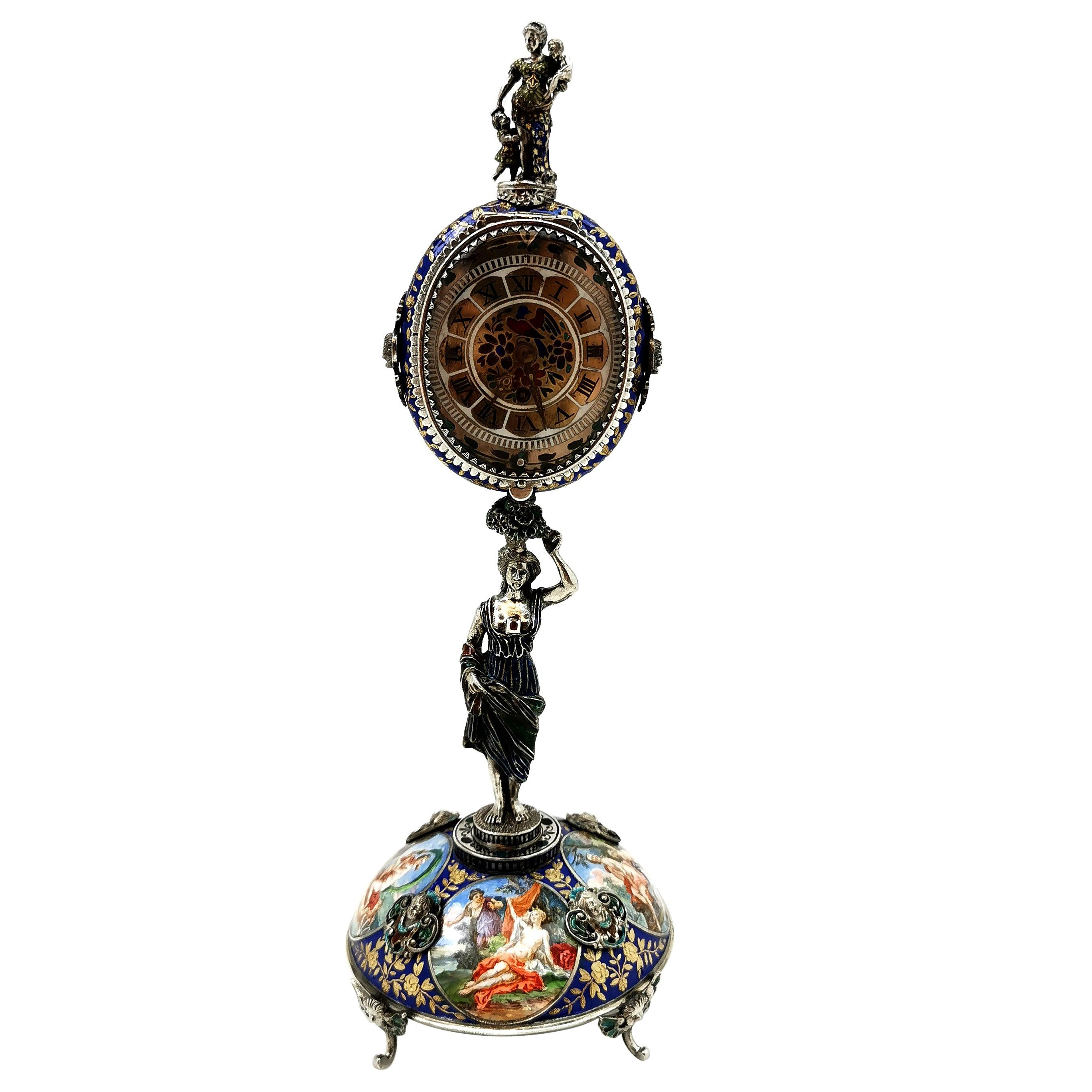 Antique Viennese Enamel and Silver Table Clock Vienna Austria circa 1870