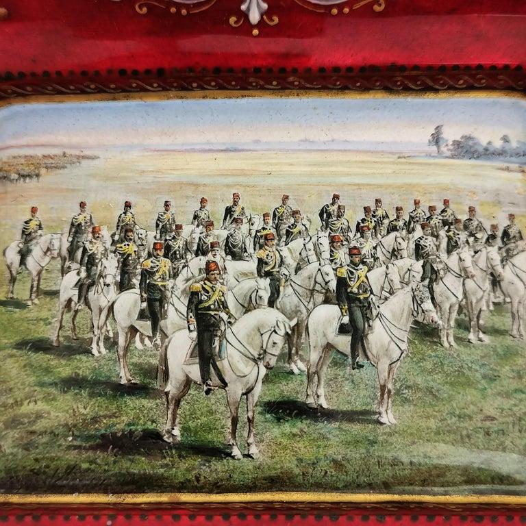 Austrian Viennese Enamel Dish / Trinket Pin Tray circa 1880 Turkish Military Parade For Sale