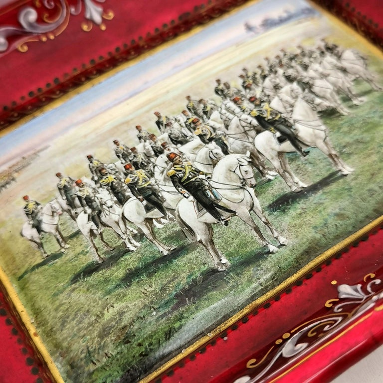 Viennese Enamel Dish / Trinket Pin Tray circa 1880 Turkish Military Parade In Good Condition For Sale In London, GB