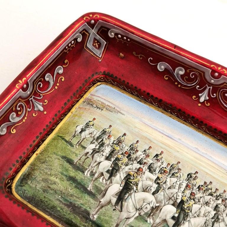 19th Century Viennese Enamel Dish / Trinket Pin Tray circa 1880 Turkish Military Parade For Sale