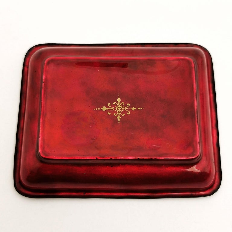 Viennese Enamel Dish / Trinket Pin Tray circa 1880 Turkish Military Parade For Sale 1