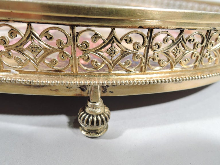 Antique Viennese Enamel Rococo Fete Champetre Footed Tray For Sale 2