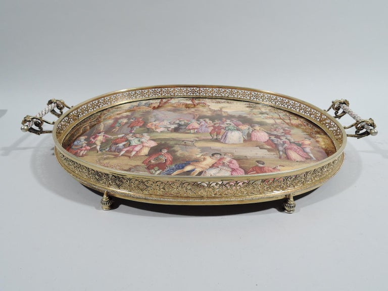 Rococo Revival Antique Viennese Enamel Rococo Fete Champetre Footed Tray For Sale