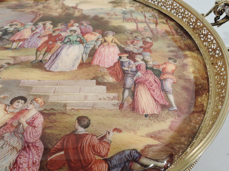 Gilt Antique Viennese Enamel Rococo Fete Champetre Footed Tray For Sale