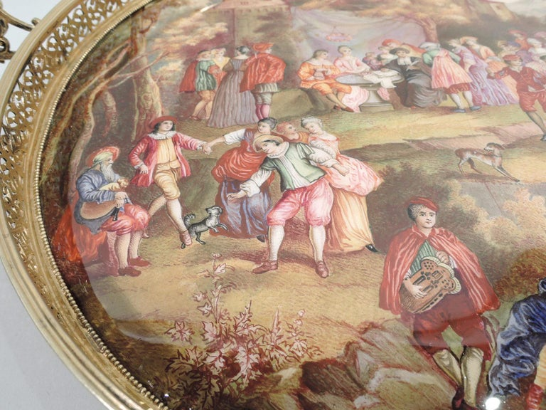 19th Century Antique Viennese Enamel Rococo Fete Champetre Footed Tray For Sale