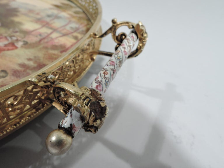 Antique Viennese Enamel Rococo Fete Champetre Footed Tray For Sale 1