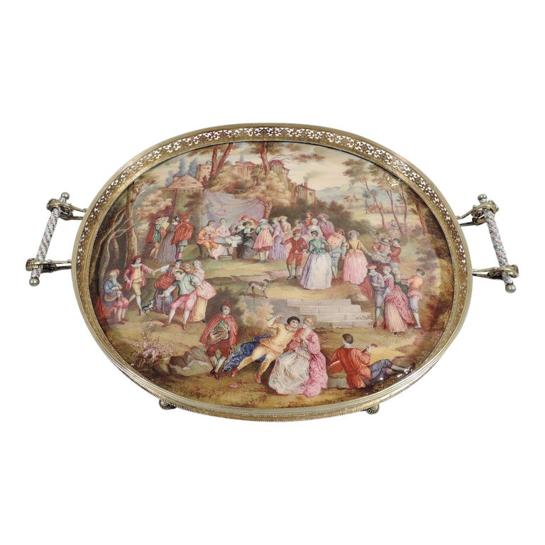 Antique Viennese Enamel Rococo Fete Champetre Footed Tray For Sale