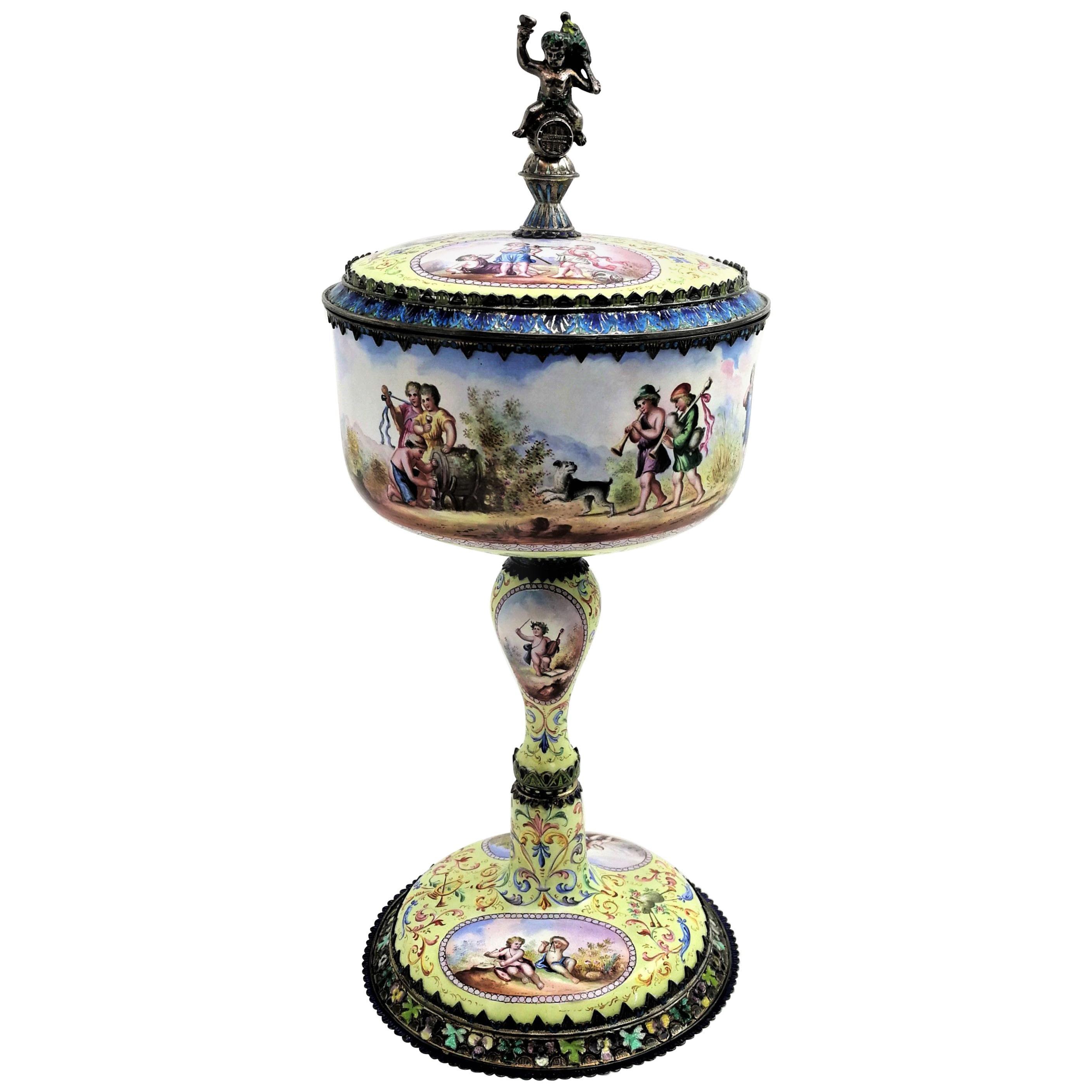 Antique Viennese Enamel & Silver Cup & Cover c 1870 (Vienna, Austria)