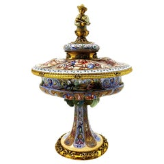 Antique Viennese Enamel Silver Gilt Lidded Dish / Comport, circa 1870