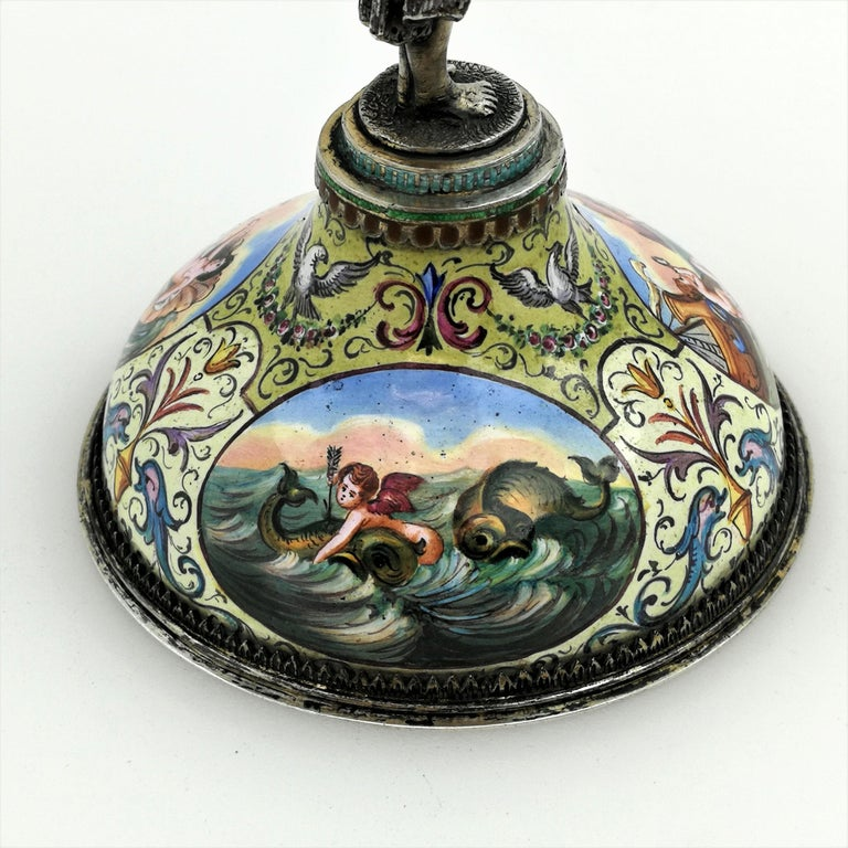Antique Viennese Enamel & Silver Trinket Box circa 1880 in Shape of Cup & Cover For Sale 4