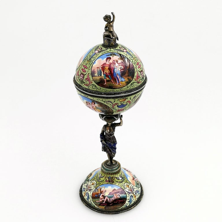 Antique Viennese Enamel & Silver Trinket Box circa 1880 in Shape of Cup & Cover For Sale 11