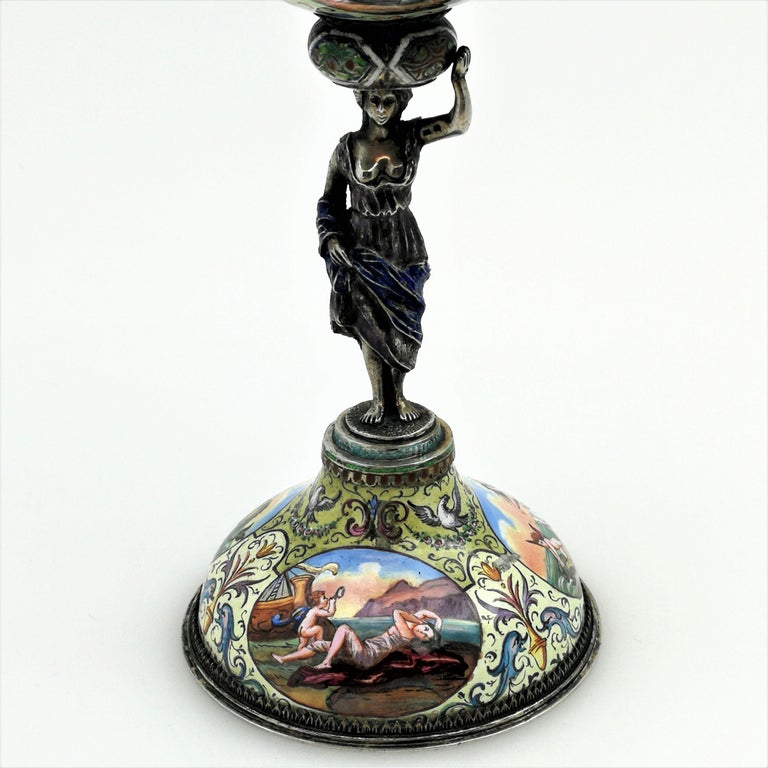 Antique Viennese Enamel & Silver Trinket Box circa 1880 in Shape of Cup & Cover For Sale 2