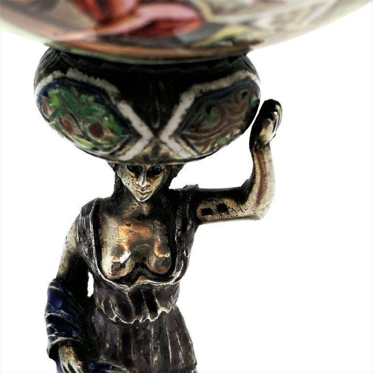 Antique Viennese Enamel & Silver Trinket Box circa 1880 in Shape of Cup & Cover For Sale 3