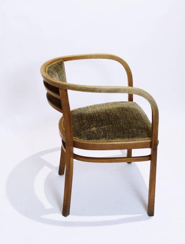 Rare Viennese Secessionist / Art Nouveau bentwood Thonet armchair. Designed by Otto Wagner. Signed with manufacturer's mark.