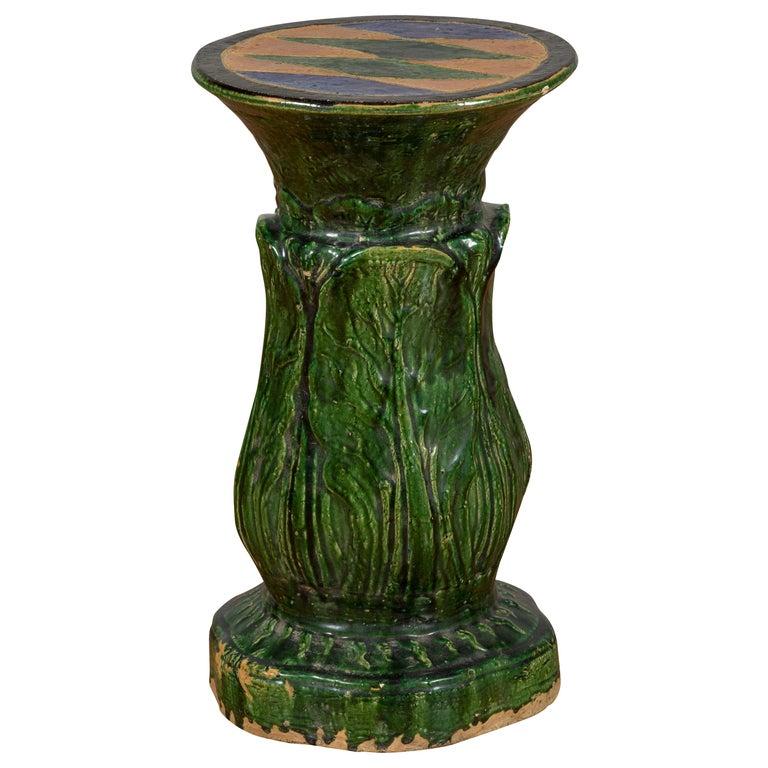 Antique Vietnamese Green Glazed Pedestal with Foliage Design and Diamond Motifs For Sale