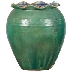 Antique Vietnamese or Chinese Green Glazed Vase with Scalloped Lip