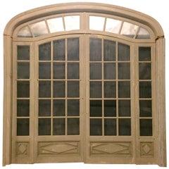Antique Vintage Beige Double-Glazed Door, Great Light Curtains, 1900, France